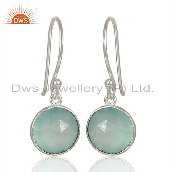 Handmade Sterling Fine Silver Aqua Chalcedony Gemstone Earrings
