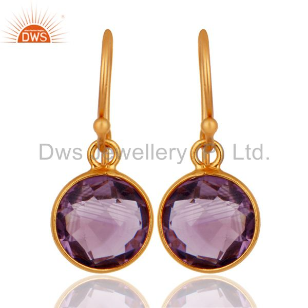 18K Yellow Gold Plated Sterling Silver Amethyst Bezel Set Dangle Hook Earrings