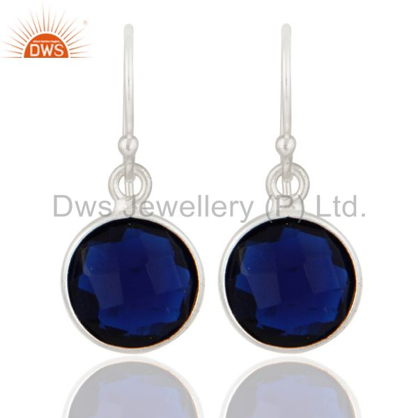 925 Sterling Silver Blue Corundum Gemstone Bezel Set Drop Earrings
