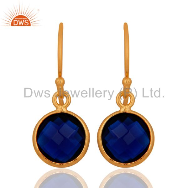 18K Yellow Gold Plated Sterling Silver Blue Corundum Bezel Set Dangle Earrings