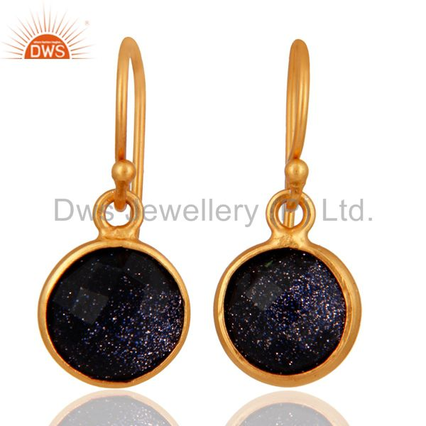 18K Yellow Gold Plated Sterling Silver Blue Sun Sitara Bezel Set Drop Earrings