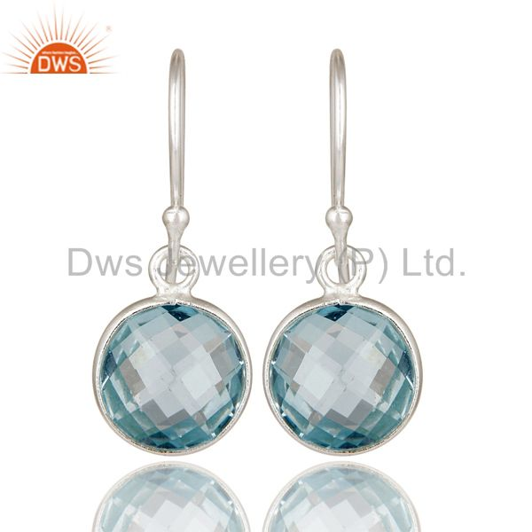 925 Sterling Silver Blue Topaz Gemstone Bezel Set Dangle Earrings