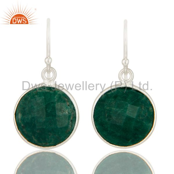 Dyed Green Emerald Corundum Bezel Set Drop Earrings In Solid Sterling Silver