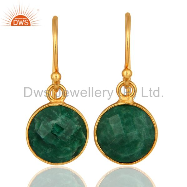 Faceted Dyed Emerald 18K Plated Gold or Sterling Silver Bezel Set Earrings