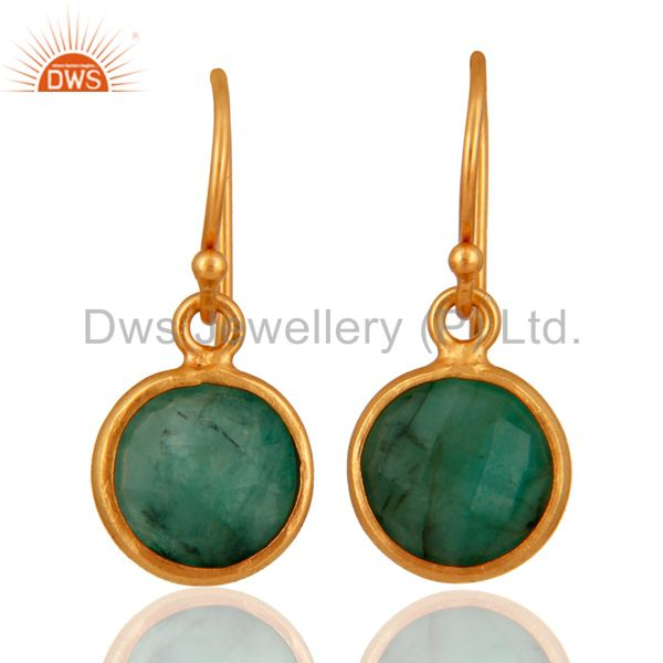 Emerald Green Gemstone Sterling Silver Bezel-Set Hook Earrings - Gold Plated