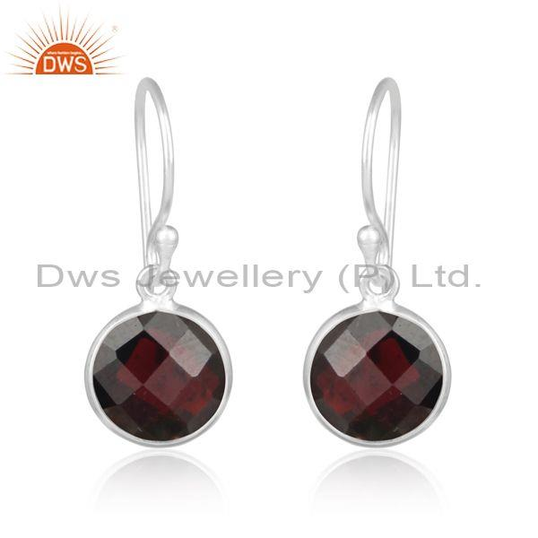 Handcrafted Trendy Silver 925 Earrings with Garnet