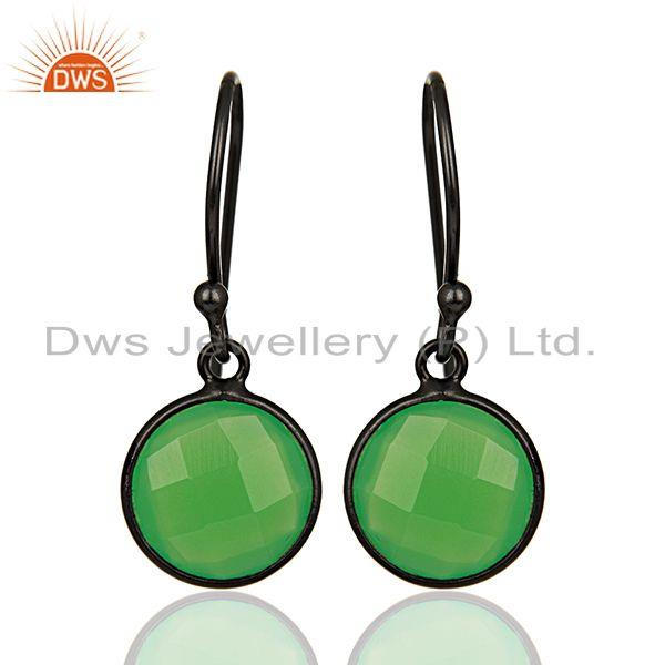Green Chalcedony Round Faceted Drop Bezel Set Sterling Silver Earring Jewelllery
