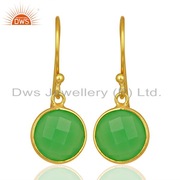 Green Chalcedony Round Faceted Drop Bezel Set Sterling Silver Earrings