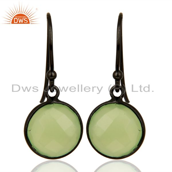 Prehnite Chalcedony Round Faceted Bezel Set 925 Sterling Silver Drop Earrings