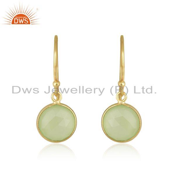 Prehnite Chalcedony Round Faceted Bezel Set 925 Sterling Silver Drop Earring