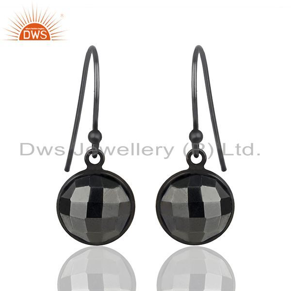 Hematite Gemstone Black Rhodium Plated 925 Silver Earrings Wholesale