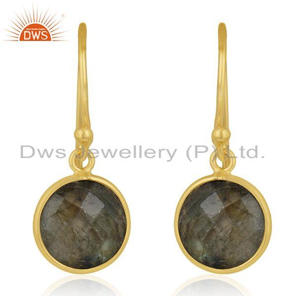 Gold Plated 925 Silver Labradorite Gemstone Earring Manufacturer of Jewelry