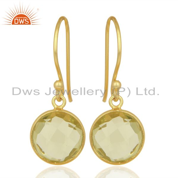 18K Yellow Gold Plated Sterling Silver Lemon Topaz Bezel Set Dangle Hook Earring