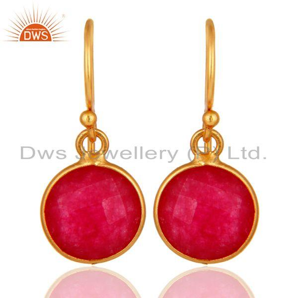 18K Yellow Gold Plated Sterling Silver Red Aventurine Bezel Set Drop Earrings