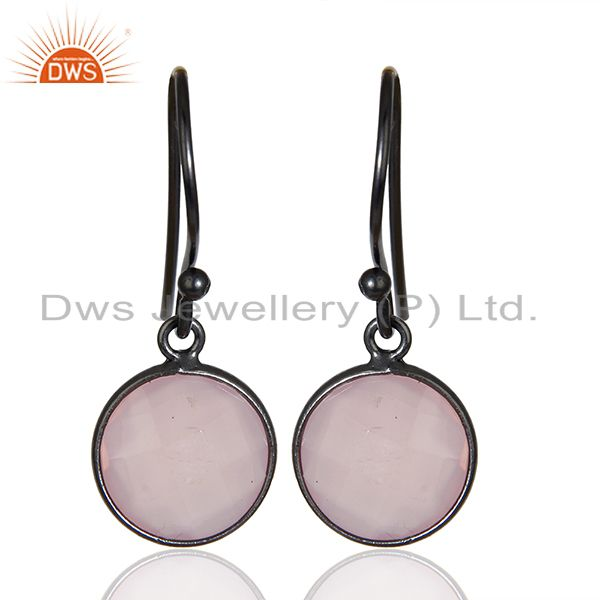 Rose Chalcedony Round Faceted Drop Bezel Set 925 Sterling Silver Earrings