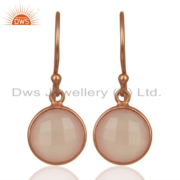 Rose Chalcedony Round Faceted Bezel Set 925 Sterling Silver Drop Earrings