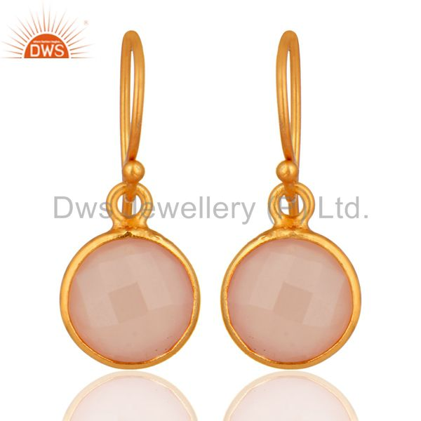 Designer Gold Plated Silver Rose Chalcedony Gemstone Earrings Jewelry
