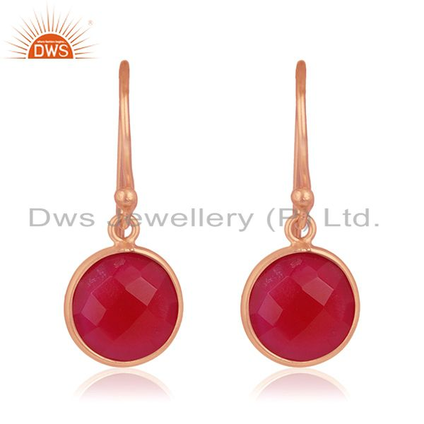 Rose Gold Plated 925 Silver Pink Chalcedony Gemstone Simple Earrings Wholesale