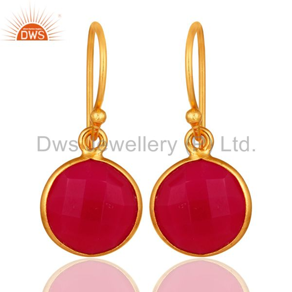Dyed Pink Chalcedony Sterling Silver Bezel Set Drop Earrings - Gold Plated