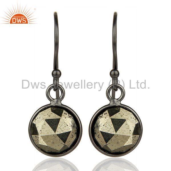 Pyrite Gemstone Rhodium Plated 925 Sterling Silver Earrings Supplier