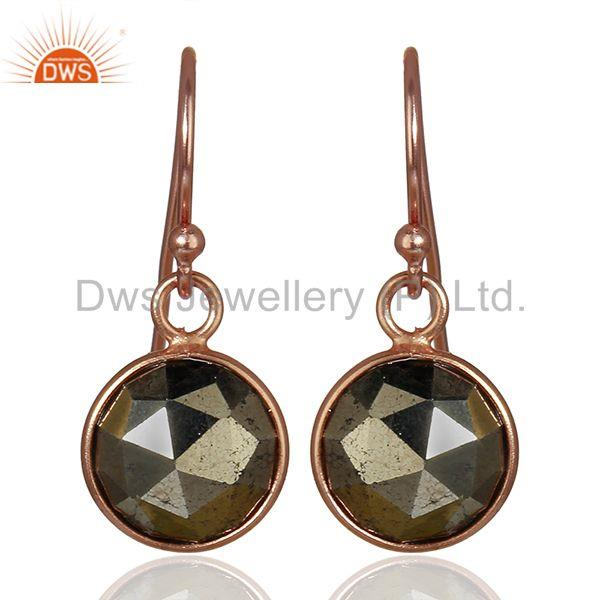 Rose Gold Plated 925 Silver Pyrite Gemstone Earrings Girls Jewelry