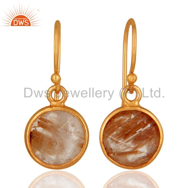 18K Yellow Gold Plated Sterling Silver Golden Rutilated Quartz Bezel Set Earring