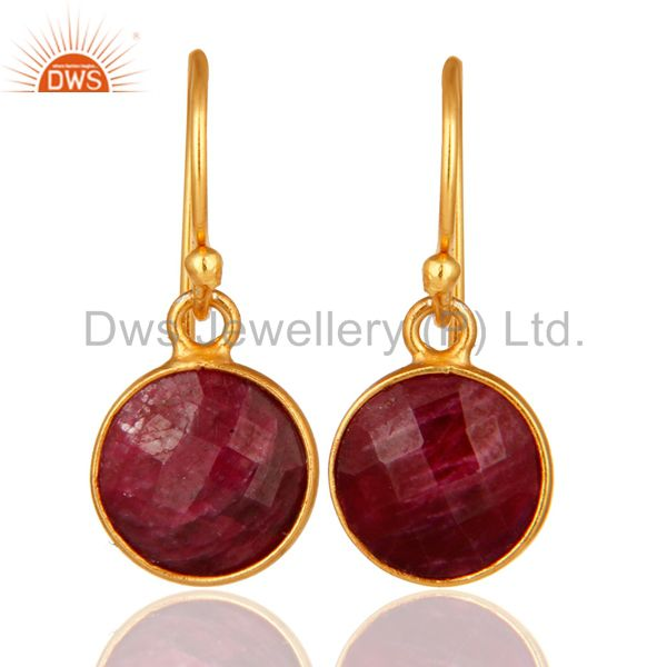 Faceted Red Ruby Corundum Bezel-Set Sterling Silver Earrings With Gold Plated
