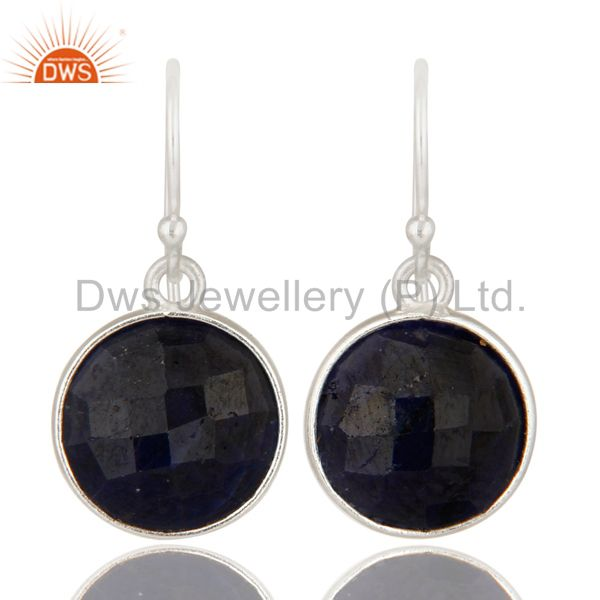 Dyed Blue Sapphire Bezel-Set Sterling Silver Earrings