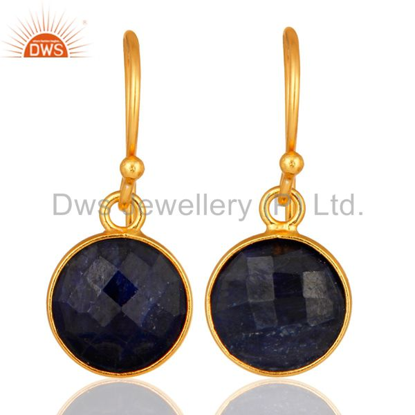 Dyed Blue Sapphire Gold Plated Sterling Silver Bezel Set Gemstone Earrings