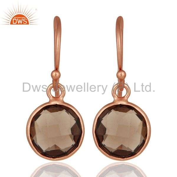 18K Rose Gold Plated Sterling Silver Smoky Quartz Bezel Set Hook Earrings