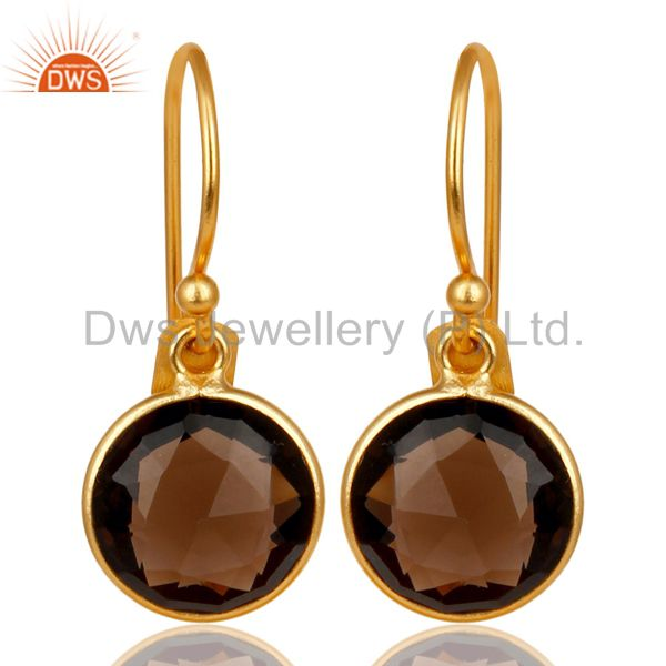 14K Gold Platedl 925 Sterling Silver Smoky Quartz Bezel Set Drops Earrings