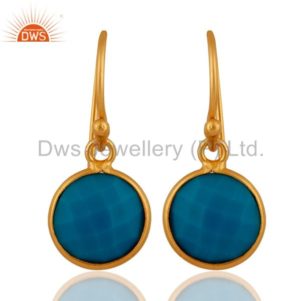 18K Yellow Gold Plated Sterling Silver Turquoise Bezel Set Dangle Hook Earrings