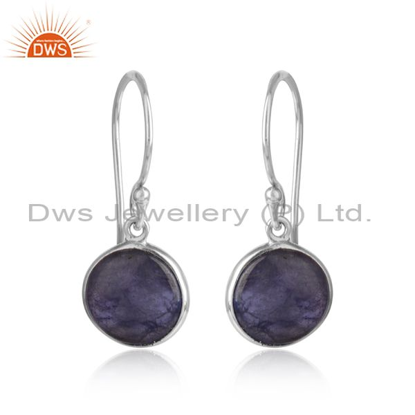 Tanzanite gemstone girls designer white rhodium silver earring