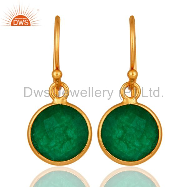 18K Yellow Gold Plated Sterling Silver Green Aventurine Bezel Set Drop Earrings