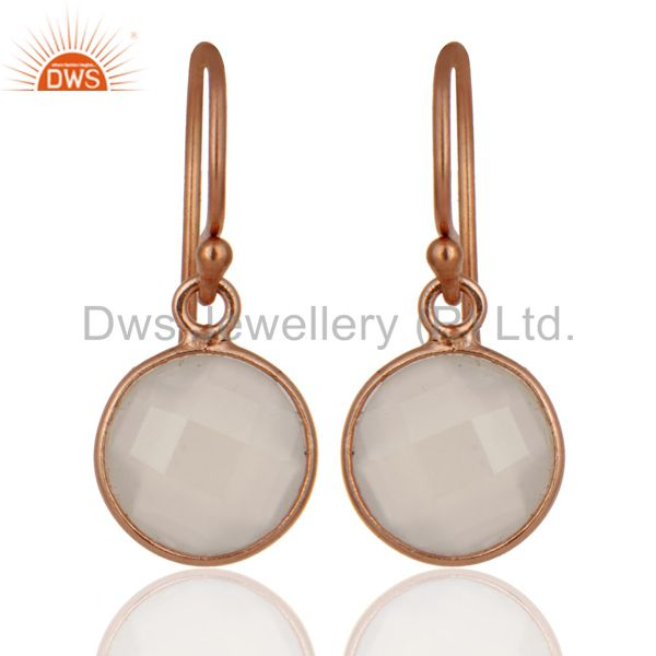 18K Rose Gold Plated Sterling Silver White Chalcedony Bezel Set Drop Earrings