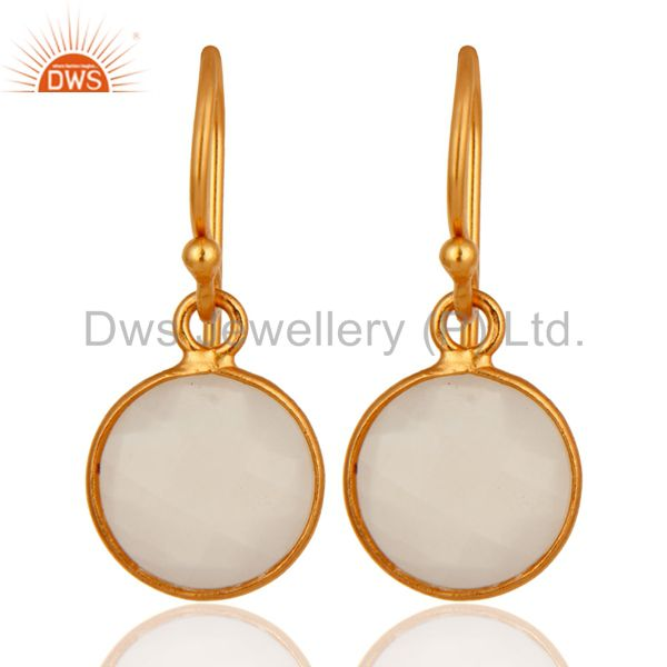 18K Yellow Gold Plated Sterling Silver White Chalcedony Gemstone Hook Earrings