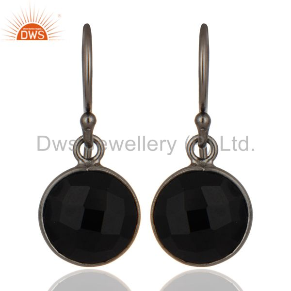 Oxidized Sterling Silver Faceted Black Onyx Gemstone Bezel Set Drop Earrings