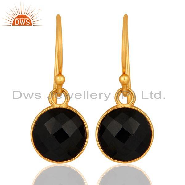 Faceted Black Onyx Gemstone Sterling Silver Dangle Earrings With Gold Plated