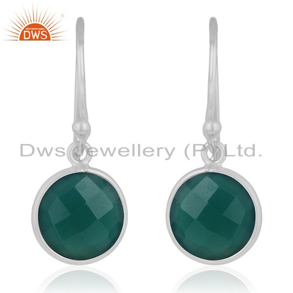 Handmade 925 Fine Silver Green Onyx Gemstone Drpo Earrings Wholesale Suppliers