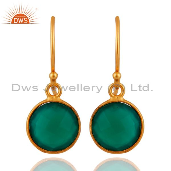 Faceted Green Onyx Gemstone Sterling Silver Round Drop Earrings - Gold Plated