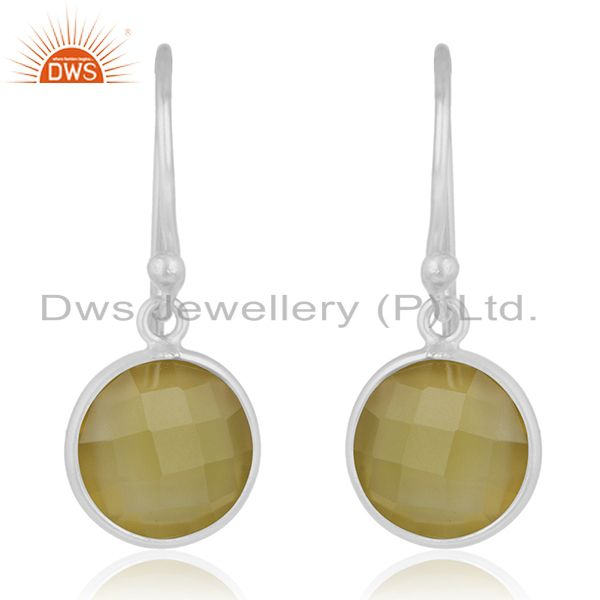 Yellow Chalcedony Gemstone 925 Sterling Silver Earring Jewelry Manufacturer