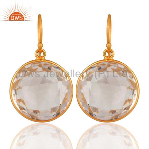 925 Sterling Silver Natural Crystal Quartz Bezel Setting Earrings - Gold Plated