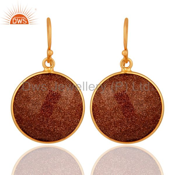 18K Yellow Gold Plated Sterling Silver Faceted Red Sun Sitara Bezel Set Earrings