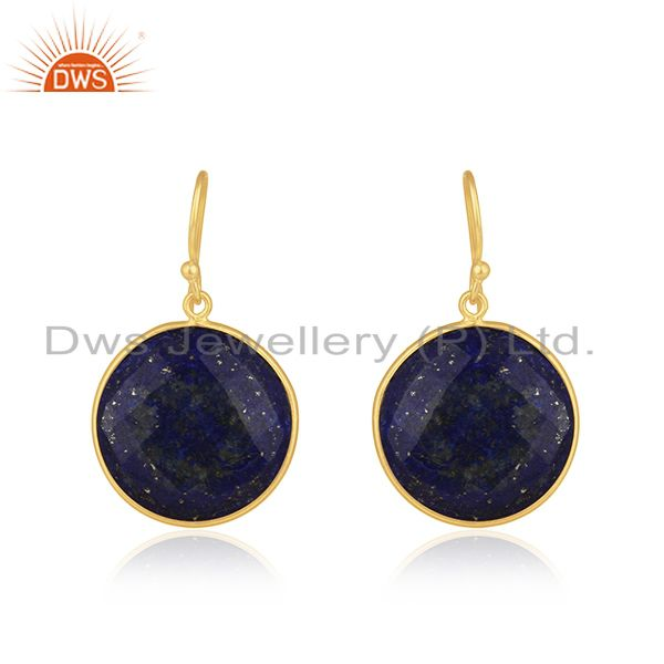 18K Yellow Gold Plated Sterling Silver Faceted Lapis Lazuli Bezel Set Earrings