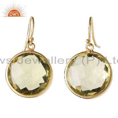 14K Yellow Gold Plated Sterling Silver Lemon Topaz Round Bezel Set Stud Earrings