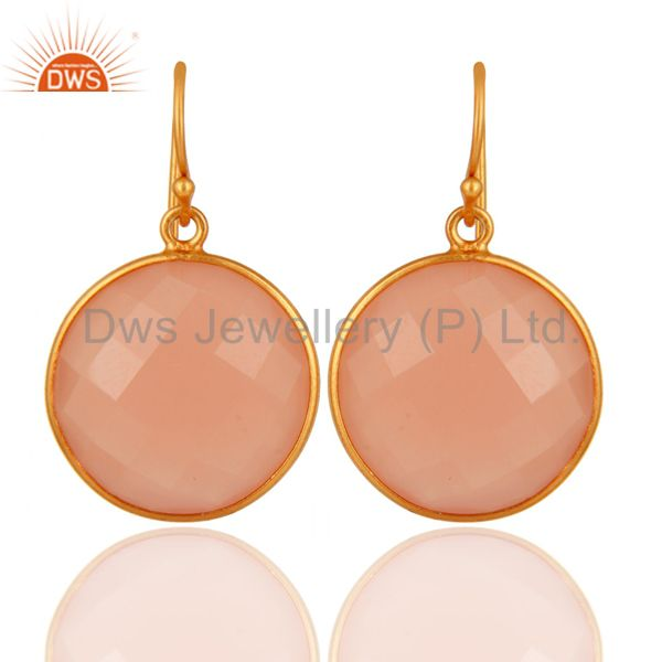 Faceted Dyed Rose Chalcedony Gemstone Dangle Earrings In 18K Gold Over Silver