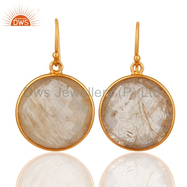 18K Yellow Gold Plated Sterling Silver Faceted Rutile Quartz Bezel Set Earrings
