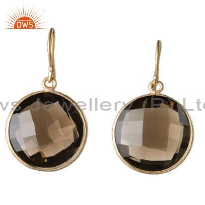 18K Yellow Gold Plated Sterling Silver Smoky Quartz Gemstone Bezel Set Earrings