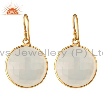 18K Yellow Gold Plated Sterling Silver White Chalcedony Bezel Set Drop Earrings