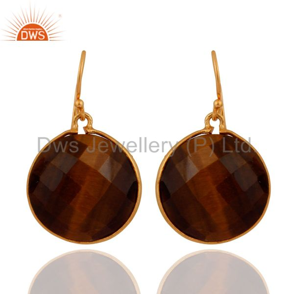 18K Yellow Gold Plated Sterling Silver Faceted Tiger Eye Bezel Drop Earrings